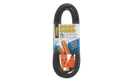 Prime EC890715 Black & Orange 3-Outlet Shop Extension Cord, 15 ft. photo