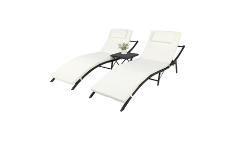2Pcs Pool Folding Recliner Adjustable Chaise Lounge Chair and Table Set