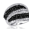 Jewelonfire 1 CT Black & White Diamond Twist Ring in SS 11661