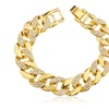 Men's Half Iced Out Cuban 8.75 Inch Link Bracelet with Snap Clasp