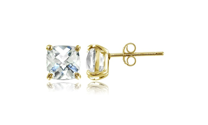 Yellow Gold Flashed Sterling Silver 7mm Cushion Cut White Topaz Stud Earrings