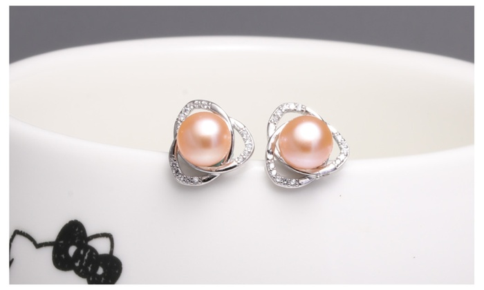 925 Silver 7 8mm Natural White Freshwater Cultured Pearl Stud Earrings