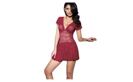 Women Sexy Lace Stitching Mesh See-through Lingerie Nightwear Dress 7625b289-ce63-4d0a-8cdd-14e6eaf072bc