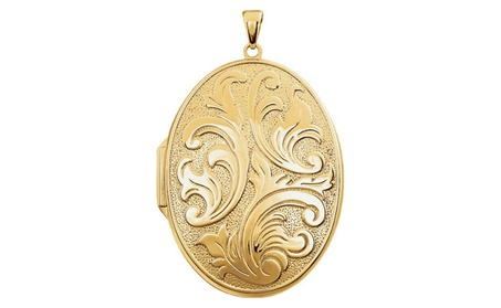 14K Yellow Gold-Plated Sterling Silver Oval Locket d6cbae46-b935-48d9-818c-f4c6d2bd2eb4
