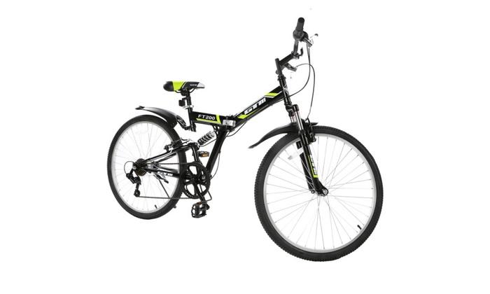"""26"""" 7 Speed Folding Mountain Bike Bicycle Shimano Hybrid Suspension"""
