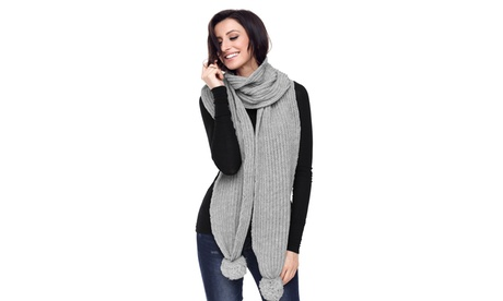 Women's Gray/Brown/Black/Burgundy/Green Pom Pom Ribbed Knit Scarf 88286df1-ba16-447d-b14e-9039217465bf