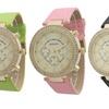 Women's Dual Stone Leather Watch