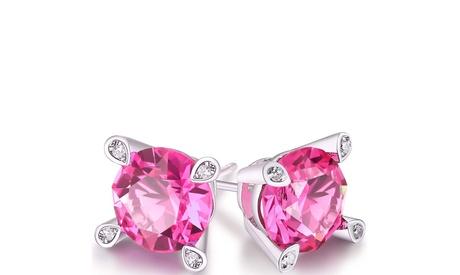 Pink Sapphire Round Studs in 18K White Gold