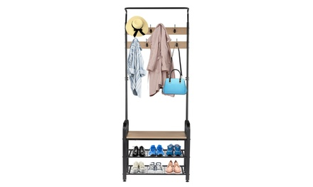 Industrial Coat Rack Shoe Bench, Hall Tree Entryway Storage Shelf