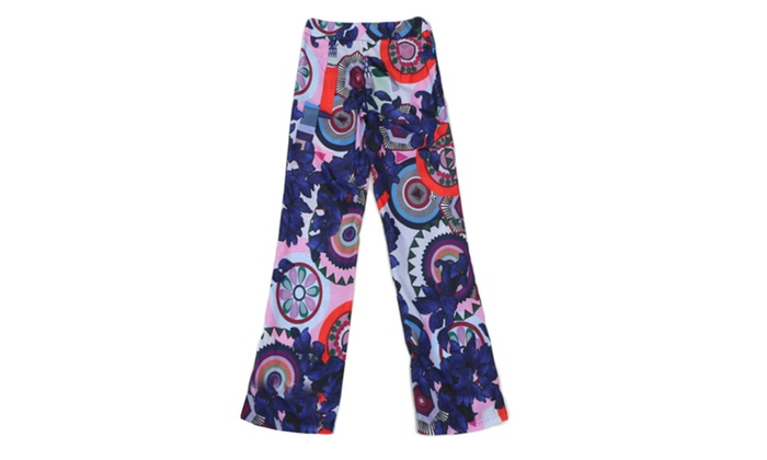 Women's Straight Floral Polyester Casual Harem Trousers