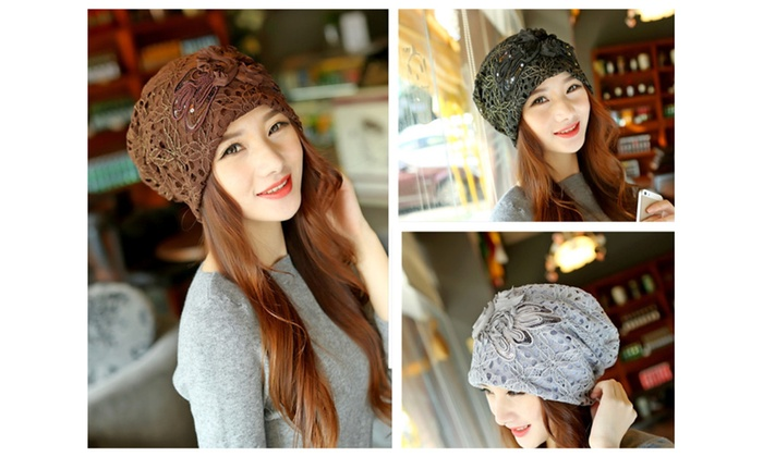 Ladies' elegance lace duplex hat beanie hat