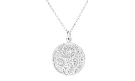 """Sterling Silver Round Glitter Filigree Pendant 18"""" Cable Chain Necklace bb4fdf70-6707-4e8a-bc2f-4ef977ccb683"""