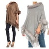 Pullover Fur Poncho with Fringes