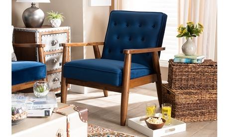 Sorrento Velvet Fabric Upholstered Walnut Wooden Lounge Chair