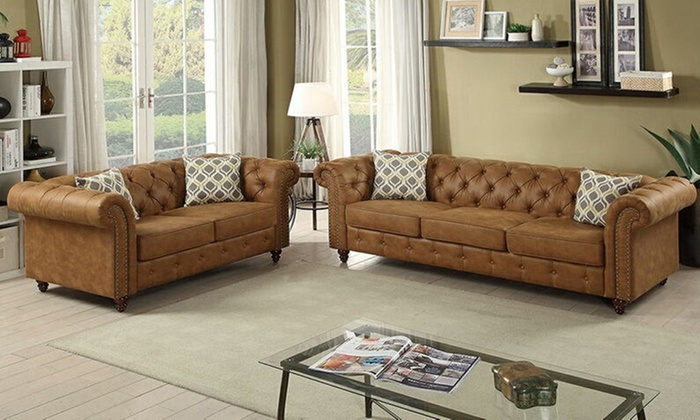 Simple Relax 2 Pcs Sofa Set With 4 Accent Pillows Breathable Leatherette