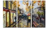 City in Yellow Shade Modern Cityscape Metal Wall Art 36x28 3 Panels