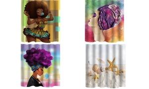 Waterproof Bathroom Shower Curtain Fabric African Girl Beach 72*72 inch Set Hook