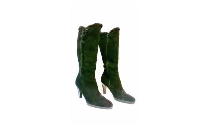 St Johns Bay Ladies Black Suede Boots Size 9