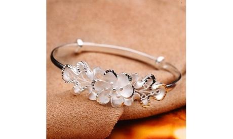 925 Sterling Silver Bauhinia Adjustable Bangle Bracelet Woman's Vera Bracelet