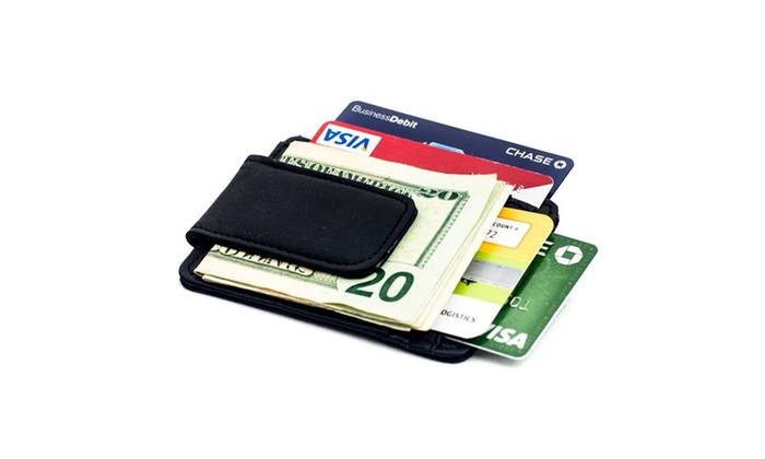 Unisex Luxuries Genuine Leather Magnetic Money Clip Wallet