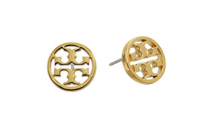 Tory Burch Circle Logo Stud Earrings Gold