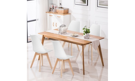 Costway Set of 4 Dining Chair Mid Century Modern Shell PU Seat w/ Wood-Leg White