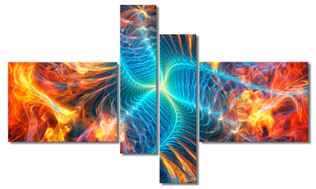 Electric Fire - Large Abstract Wall Art - 63x32 - 4 Panels 09bddf62-9061-4805-ae0d-4d2a7545bc94