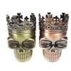 King skull crowned skeleton skull design novelty metal spice herb grin