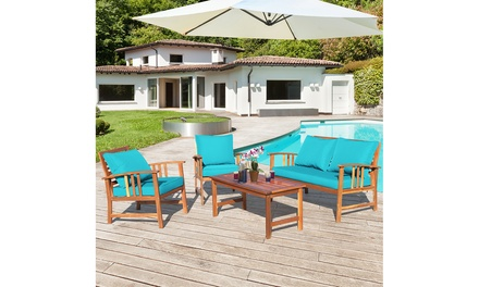 Costway 4PCS Wooden Patio Furniture Set Table Sofa Chair Cushioned Garden
