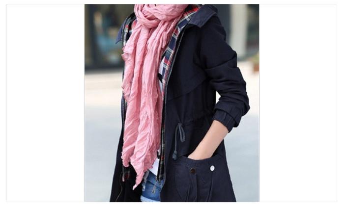 Fashion Dark Beige Foulard Soft Cotton Long Scarf Women Scarves