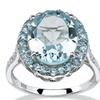 7.92 TCW Oval Genuine Blue Topaz Halo Ring