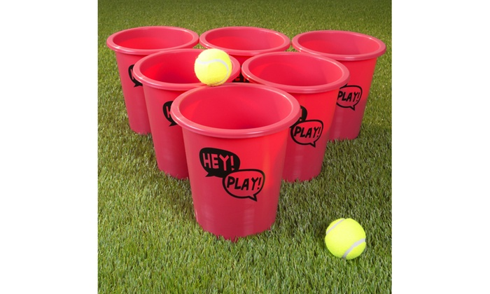 Bucket Ball Giant Beer Pong Outdoor Game Set with 12 Buckets, 2 Balls, Tote Bag