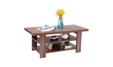 Wood Coffee Table Rectangle Modern Living Room Furniture with Storage Shelves