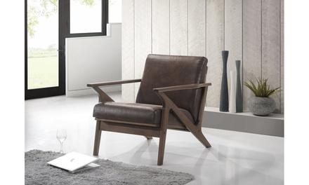 Bianca MCM Walnut Wood Dark Brown Lounge Chair or Ottoman