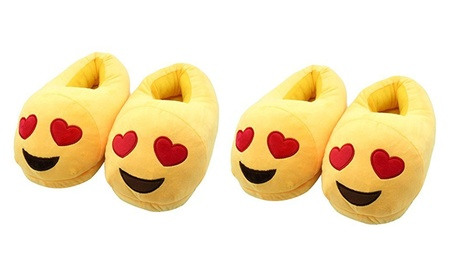 New Stuffed Emoji Face Love Smile Bedroom Slippers with Textured heel 13000e71-1881-47b6-acad-40d47636ba1c