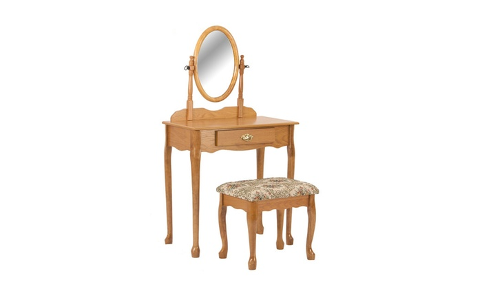 Awesome Modern Vanity Set With Mirror Cushioned Bench Cherry Or Oak Gmtry Best Dining Table And Chair Ideas Images Gmtryco