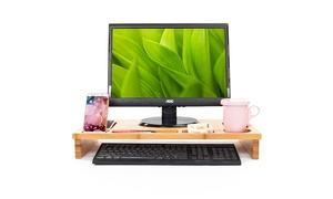 Space Saving Wood Laptop Table Monitor Stand w/orage Storage Organizer