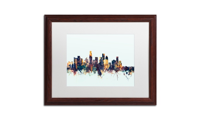 Michael tompsett 39 los angeles ca skyline blue 39 wood framed for Michaels crafts los angeles