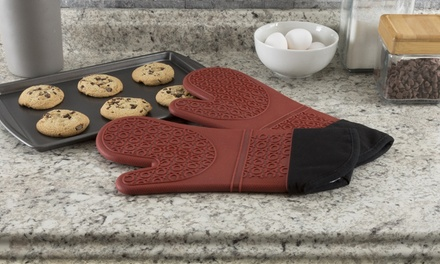 Extra-Long Heat-Resistant Silicone Oven Mitts with Lining