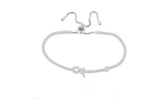 925 Sterling Silver Breast Cancer Awareness Tennis Bracelet