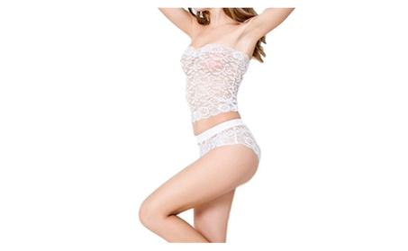 Women Sexy Lace Strapless Tube Top And Pantie Lingerie Set b9c89d3d-d9a7-414a-bfea-df2f2cce5633