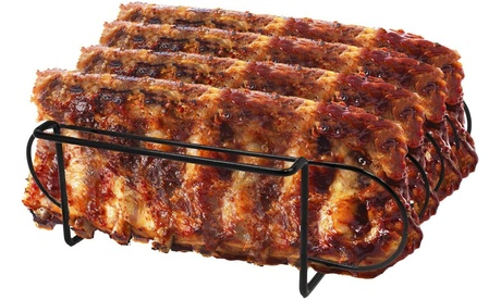 Sorbus Non-Stick Rib Rack - Porcelain Coated Steel Roasting Stand for Grilling photo