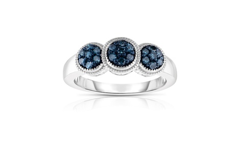 1/4cttw Blue and White Diamond 3 Stone Cluster Ring in Sterling Silver 11c16d64-07f8-4e96-be8b-255f41d057d2
