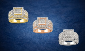 2CTTW Diamond Cluster Princess Halo Bridal Ring in 10K Gold By Brilliant Diamond