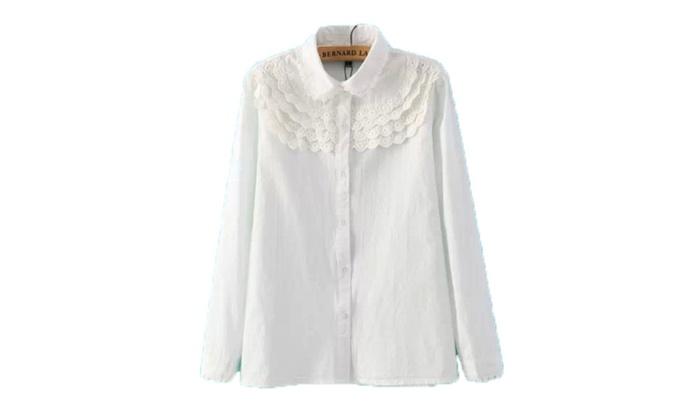 Women's Ribbed Hem Button Down Shirt Blouse