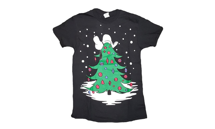 lxr store peanuts snoopy on a christmas tree graphic t shirt tees - Peanuts Christmas Shirt