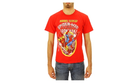 Marvel Team Up Iron Man & Spiderman Men's Red T-Shirt New Size XS 866fce6d-0f99-46b0-920a-4a1306b009be