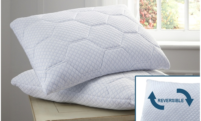Summer Cooling Gel Reversible Memory Foam Loft Pillow 2