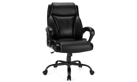 Costway 400 LBS Big Tall Leather Office Chair Adjustable High Back Task Chair