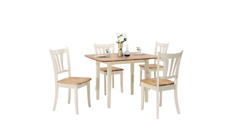 Costway Extendable 5 Piece Wood Dining Table Set 4 Chairs Kitchen Table